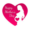 Pregnant Happy mothers day greeting card. Royalty Free Stock Photo