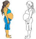 Pregnant illustration of women color and black white Royalty Free Stock Photos