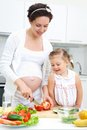 Pregnant mother daughter kitchen making salad Royalty Free Stock Photos