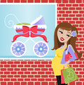 Pregnant shopper illustration of a woman shopping Stock Images