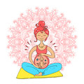 Pregnant tanned woman in lotus position against mandala backgrou