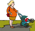 Pregnant with toddler woman in pushchair Royalty Free Stock Images