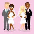 Pregnant wedding couples multiracial smiling and happy Royalty Free Stock Photo