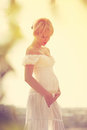 Pregnant woman beautiful young posing Royalty Free Stock Image