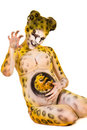 Pregnant woman with body-art as leopard Royalty Free Stock Photos