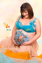 Pregnant woman with body-art of sea life Royalty Free Stock Photography