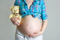 Pregnant woman caressing her belly Stock Photography