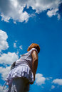Pregnant woman and cloudy blue sky Royalty Free Stock Photo