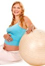 Pregnant woman do sport happy fitness isolated Royalty Free Stock Images