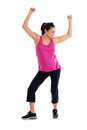 Pregnant woman doing aerobics beautiful hispanic low impact aerobic dancing isolated on white background Stock Images