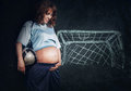 Pregnant woman dreams about little son Royalty Free Stock Photo