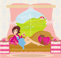 Pregnant woman expecting a girl illustration Royalty Free Stock Images