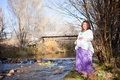 Pregnant woman in fall nature Royalty Free Stock Photography