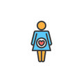 Pregnant woman filled outline icon, line vector sign, linear colorful pictogram.