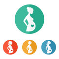 Pregnant woman flat silhouette icon