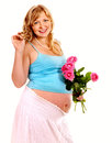 Pregnant woman with flower isolated Stock Photos