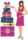 Pregnant woman with gifts Stock Photography