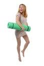 Pregnant woman going to yoga Royalty Free Stock Photos