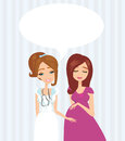Pregnant woman having a prenatal checkup illustration of Royalty Free Stock Image