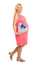 Pregnant woman with heart and blue bow isolated Royalty Free Stock Images