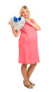 Pregnant woman with heart and blue bow isolated Stock Photography