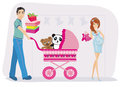 pregnant woman and her husband on shopping Royalty Free Stock Photo