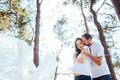 Pregnant woman with her husband waiting for newborn baby. Royalty Free Stock Photo