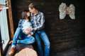 Pregnant woman with her husband waiting for newborn Royalty Free Stock Photo
