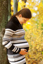 Pregnant woman hugging belly in the autumn forest Royalty Free Stock Photos