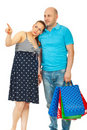Pregnant woman and husband at shopping Royalty Free Stock Photos
