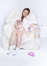 Pregnant woman knitting Royalty Free Stock Photography