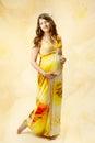 Pregnant Woman In Long Dress O...