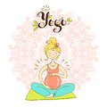 Pregnant woman in lotus position against mandala background. Cut