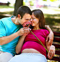 Pregnant woman with man outdoor holding flower men in park Royalty Free Stock Image
