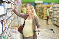 Pregnant Woman At Milk Dairy S...