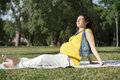 Pregnant woman in outdoor portrait of relax green park Stock Photography