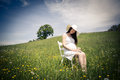Pregnant woman outdoor portrait of a young Royalty Free Stock Photography