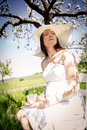 Pregnant woman outdoor portrait of a young Royalty Free Stock Photos