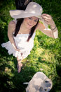 Pregnant woman outdoor portrait of a young Royalty Free Stock Images