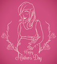 Pregnant Woman in Outline Design for Mother's Day Card, Vector Illustration Royalty Free Stock Photo
