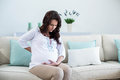 Pregnant woman with painful back Royalty Free Stock Photo