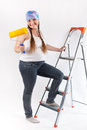 Pregnant woman and repair, studio Royalty Free Stock Image