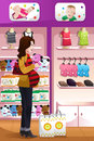 Pregnant woman shopping baby stuff a vector illustration of happy for Royalty Free Stock Image
