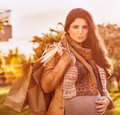 Pregnant woman with shopping bag Royalty Free Stock Photo