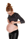 Pregnant woman showing bally. Royalty Free Stock Photo
