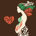 Pregnant woman silhouette with abstract decorative Royalty Free Stock Photo