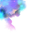 Pregnant woman silhouette plus abstract watercolor. Royalty Free Stock Photo