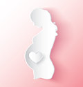 Pregnant woman sticker peeling of in girl pink Stock Photography