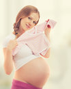 Pregnant woman waiting for desired baby Royalty Free Stock Photo