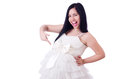 Pregnant woman in wedding dress on white Royalty Free Stock Image